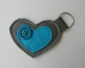 Leather and Button Keychain - Grey and Turquoise
