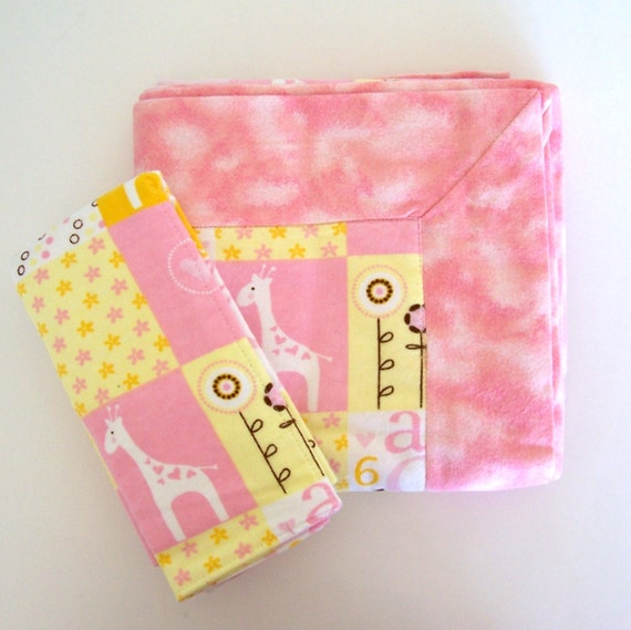 Baby Girl Receiving Blanket DOUBLE THICK in Pink and Brown plus FREE Burp Cloth