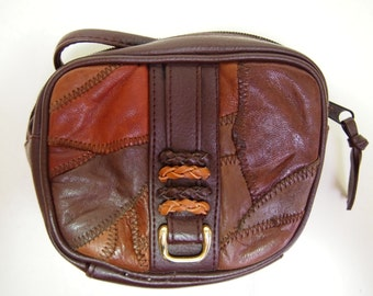 Vintage 1980s Brown faux leather patchwork festival cross body pouch bag