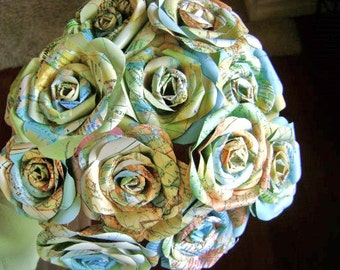 vintage atlas map paper rose 12 flower bouquet for weddings or toss bouquet
