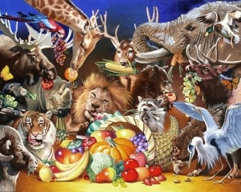 Animeal, wildlife animals original large 40x60 oils on canvas painting by RUSTY RUST / A-53