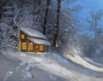 Cabin in winter landscape 24x36 original oils on canvas painting by RUSTY RUST / M-264