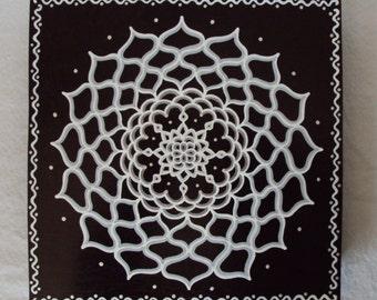 Mandala Painting Energy Circle on Wood Black and White