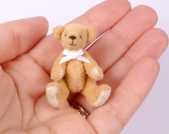Yellow Miniature Artist Bear. 4cm / 1.5 inches