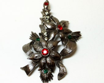 Beatrix Christmas Candle Brooch- 1960s- Vintage Holiday Jewelry