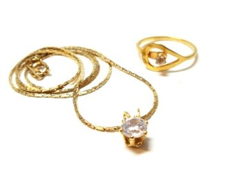 Necklace Ring Set- 2 Piece Necklace Set- Avon Catch A Star Ring 1978 - Size 7- Faux Diamond Solitaire- 17 Inches