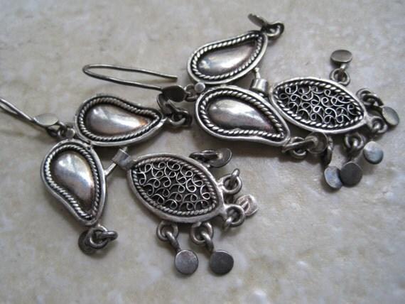 Vintage Syrian Earrings - Sterling Silver Dangle Middle Eastern Earrings - Pierced Ears
