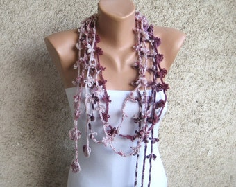 Plum Scarf Lariat Floral Necklace Crocheted Purple / Ivory / Violet Pastel Women Soft Comfortable Set of three