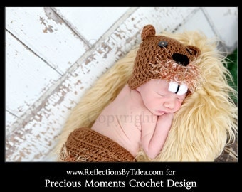 Baby Beaver Hat and Diaper Cover Set, Newborn Beaver Set, Crochet Baby Hat, Newborn PHOTO PROP