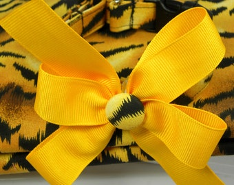 Dog Collar Wonderful Animal Tiger Print in a Yelllow Gold and Black Print w Bow Adjustable Dog Collar D Ring Choose Size Accessory Pet Pets