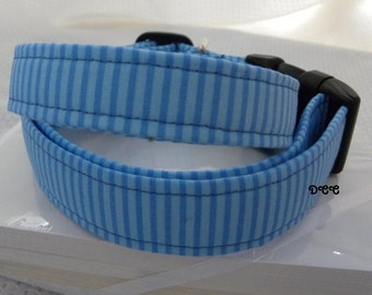 Dog Collar Blue on Blue Stripes Stripe Classic Adjustable Dog Collar with D Ring Choose Size Collars Pets
