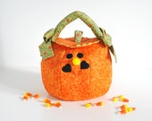 Halloween Bag Trick or Treat Pumpkin Quilted Fabric Medium Freckled Orange