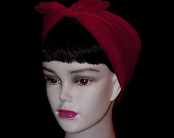 Burgundy  Rockabilly 50's Style Hair n' Neck Chiffon Scarf