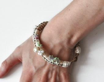 Beaded row and wrap bracelet,  Bohemian Bracelet,  Beige Bangle - Free Shipping