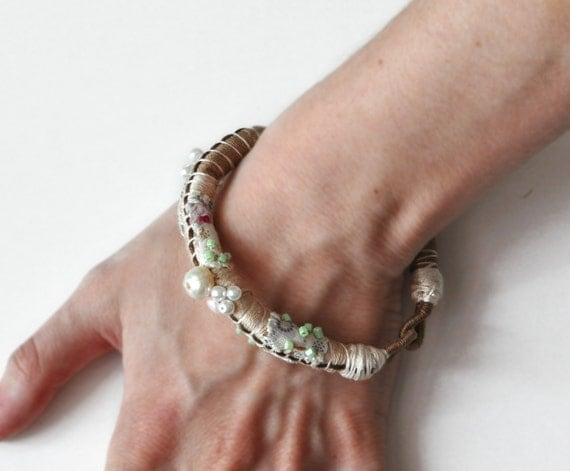 Beaded row and wrap bracelet,  Bohemian Bracelet,  Beige Bangle - Free Shipping