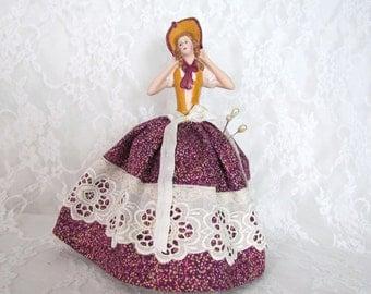 Half Doll Porcelain Pincushion Handmade Lace Trim on Skirt Sewing Notion