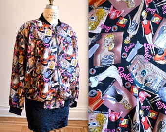 90s Nicole Miller Silk Bomber Jacket with BARBIE Print size  Large XL