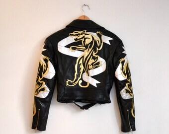 Vintage Black Leather Motorcycle Jacket by North Beach Michael Hoban// Vintage Black Metallic Leather biker Jacket Panther Small Medium