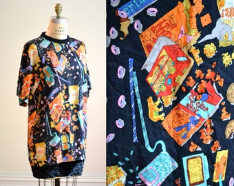 90s Vintage Nicole Miller Silk Shirt Size Small Medium with Food Print Junk Food