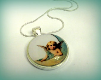 Angel on the Moon Glass Pendant for Necklace