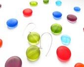 CUSTOM For Erika Mod Dots - Earrings - Emerald Green Glass - Small Dots