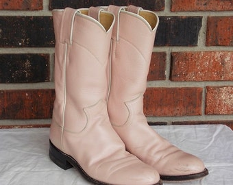 Vintage Pearl Pink Justin Roper Cowboy Cowgirl Boots - 4.5B