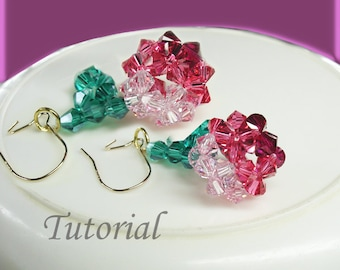 Earrings Pattern Beading Tutorial - Beaded Cherries Earrings Tutorial Beaded Earrings Tutorial Pattern,Round Earrings,Easy Handmade Earrings