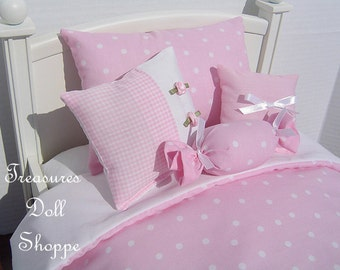 Doll Bedding 5 Pc Set for 18 Inch sized Dolls - Pink Rosebud