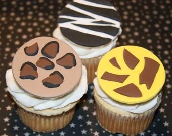 Fondant cupcake toppers Animal Print Zebra Giraffe Cheetah