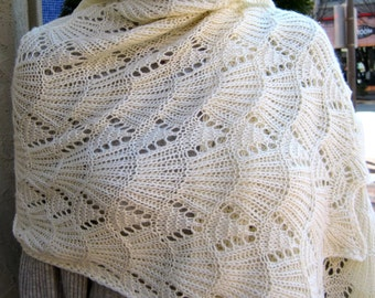 Knit Shawl Pattern:  Bavarian Lace Wrap Knitting Pattern