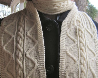 Knit Scarf Pattern:  Rolling River Turtleneck Scarf Knitting Pattern