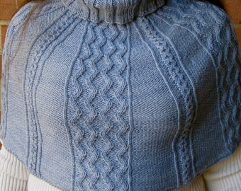 Knit Cowl Pattern:  Cabled Cowl Turtleneck Knitting Pattern