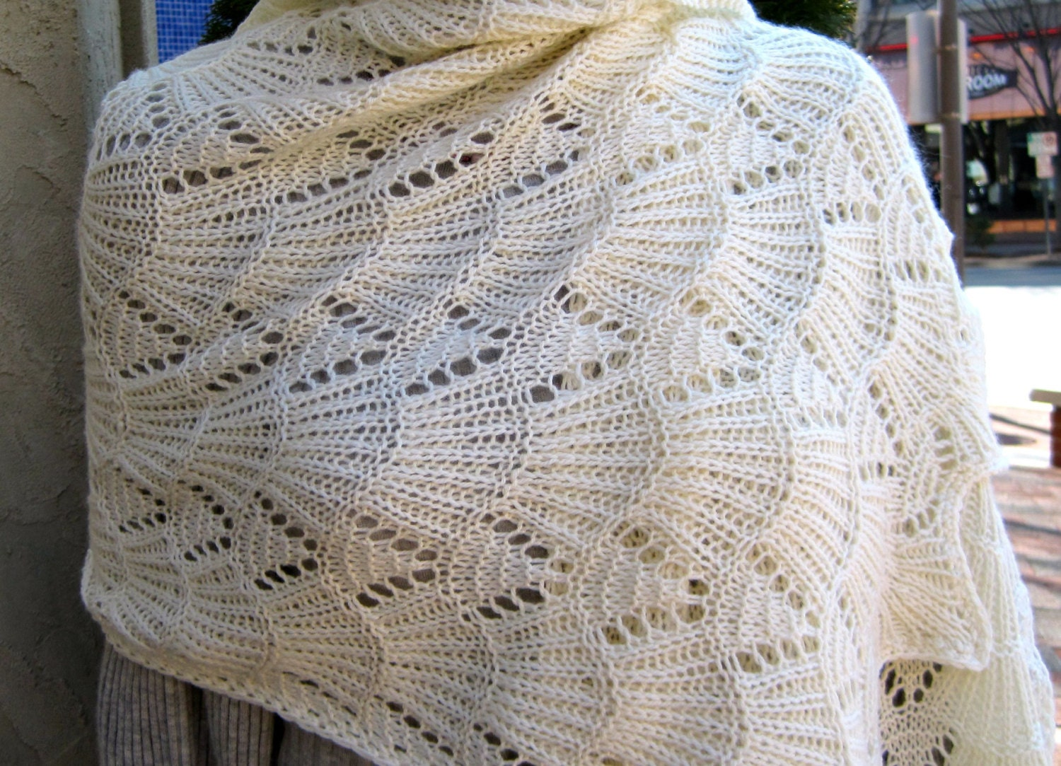 Knitting Stitches Wrap 3 : Knit Shawl Pattern: Bavarian Lace Wrap Knitting Pattern