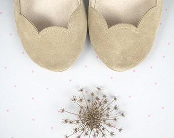Sand Soft Suede Scalloped Handmade Ballet Flats
