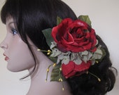 Flamenco Red Roses Hair Flower cluster clip