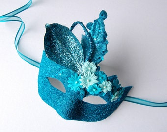MASK- Turquoise Floral Burst- fairy, Mardi Gras, Venetian, masquerade mask