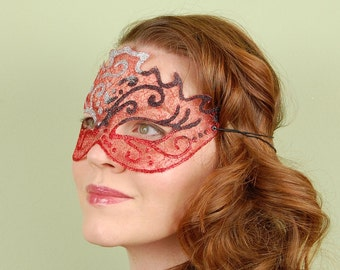 SHEER MASK- Sparkle Mesh- Silver Blackjack- masquerade mask, Mardi Gras, ballroom, fairy, Venetian, Halloween, tattoo