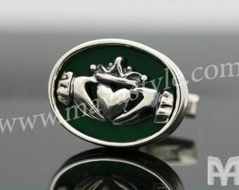 Sterling Silver Irish Claddagh Cufflinks