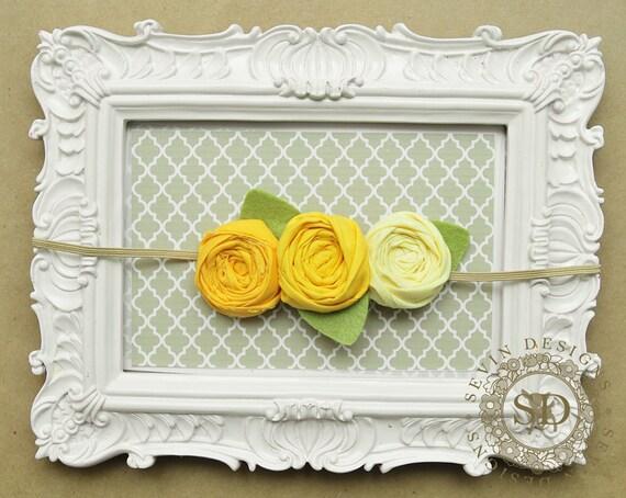 Yellow Ombre  --  Triple Rosette Headband -- Nwborn, Baby, Toddler, Teen, Adult