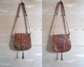 70s Hornback Crocodile Leather Purse . Exquisite Brown Detailed Shoulder Bag