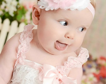 Beautiful Lt pink and white petti lace romper, lace petti romper, baby girl lace petti romper,romper,Lace Rompe,VISIT OUR STORE