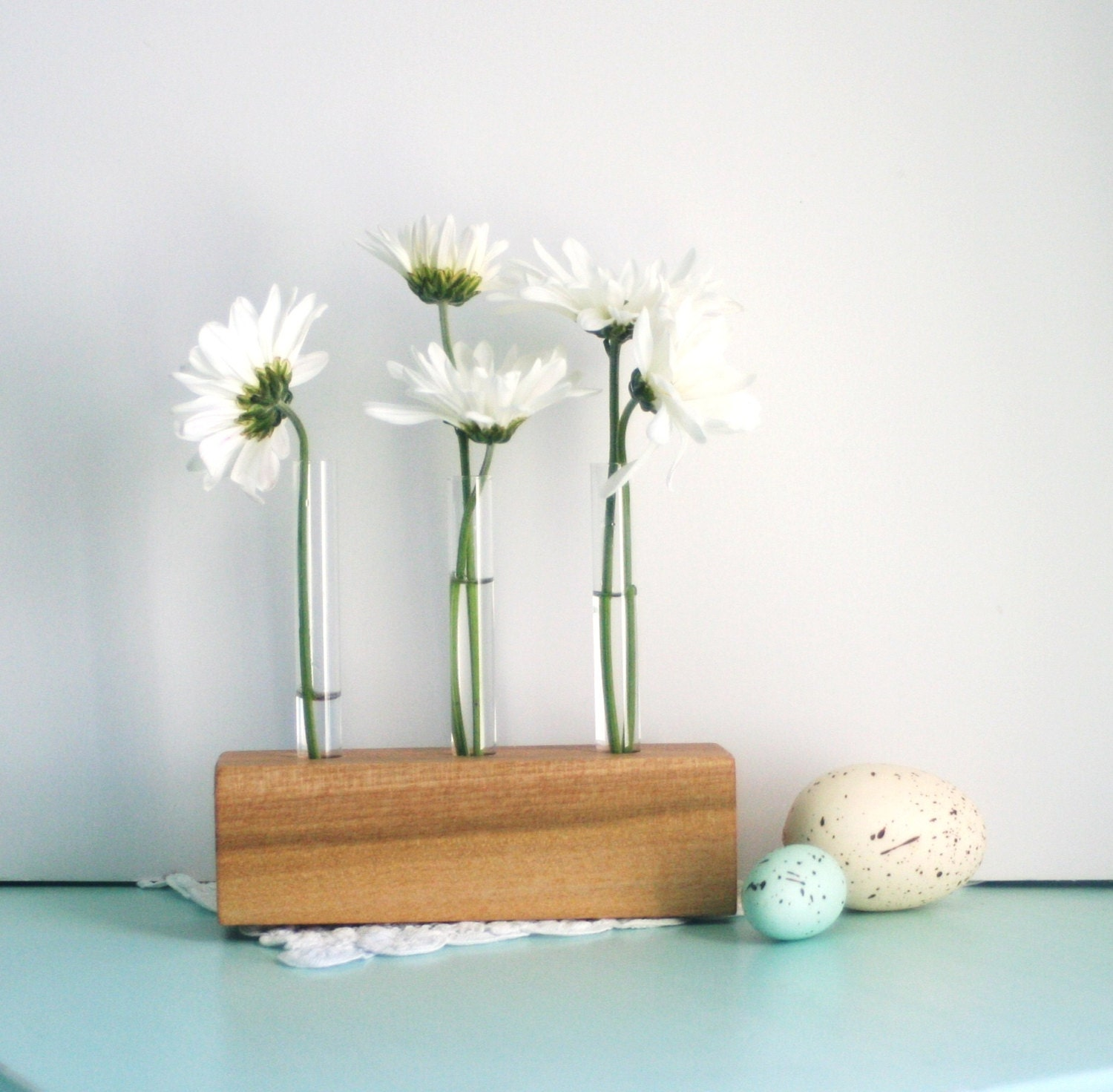 Wooden bud vase with test tubes stained for three by for Test tube vase
