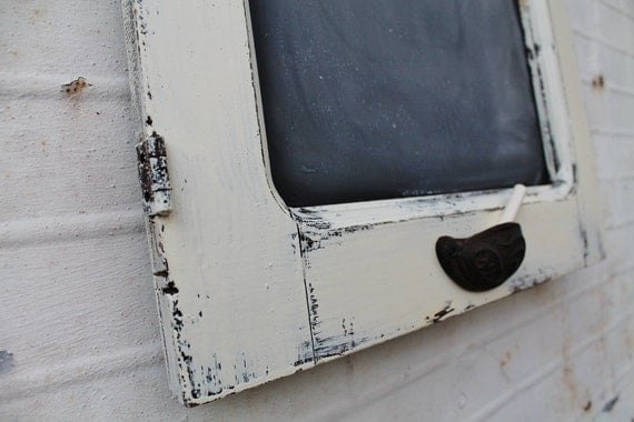 White Wooden Chalkboard - Created from Antique Salvaged Cupboard Door