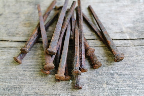 Antique Square Peg Nails - Collection of 14