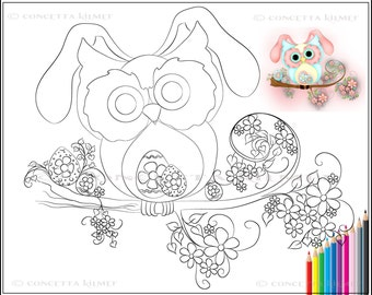 Little Miss Easter Hooty - Easter Owl / Printable Download PDF Coloring Page - Concetta Kilmer