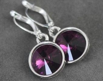 February Birthstone Earrings, Purple Amethyst Drop Earrings, Amethyst Jewelry, February Birthstone Jewelry, Amethsyt Earrings