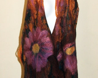 Nuno Felted Scarf, wrap OOAK Wearable Art Lace scarf  Made to Order