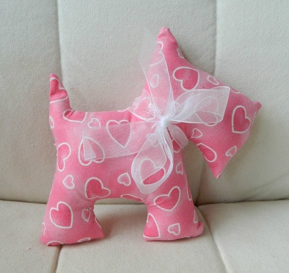 Stuffed Scotty Dog - Valentine's Day - Pink Hearts and Sparkles
