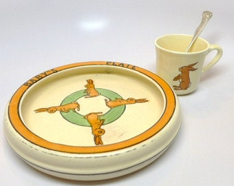 Roseville Baby's Plate, Cup and Spoon