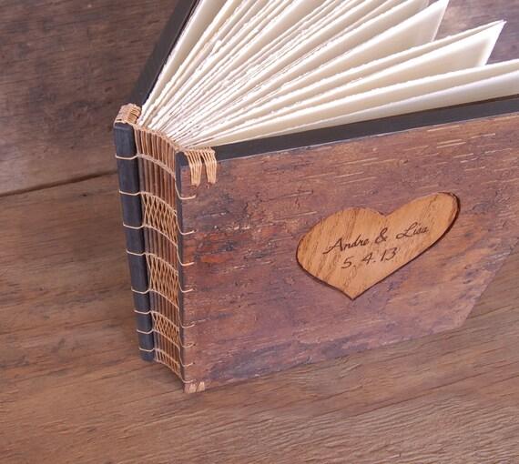 Wooden Wedding Album: Wedding Photo Album Unique Rustic Wood Book Tree Bark Cover